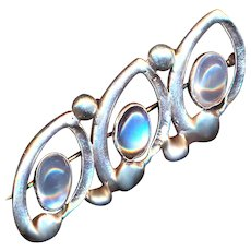 Brooch--Vintage Cast Sterling Silver and Three Oval Moonstones