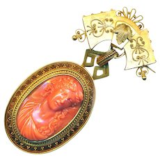 Brooch--Large Mid-19th C. Coral Cameo in Etruscan Gold