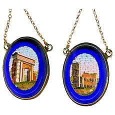 Earrings--19th C. Fine Micromosaic Roman Ruins in Blue Glass and 14 Karat Gold