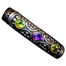 Bracelet--Heavy Thick Woven Sterling Silver & Gold Amethyst and Peridot