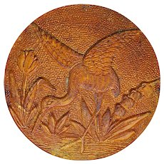 Button--Large Antique Pressed Wood Heron in Marsh--Paris Back Circa 1880
