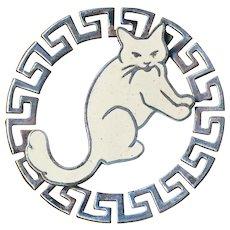 Button--Large Vintage Openwork Greek Key Enameled Kitty