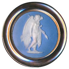 Button--Late 18th C. Georgian Jasperware Avenging Angel in Red-gold Hued Brass