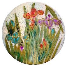 Button--Fine Quality Large Late 19th C. Japanese Satsuma Red Irises