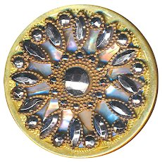 Button--Elegant Late 19th C. Cut Steel Rosette Over Iridescent Pearl in Brass