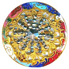 Button--Large Domed Rococo Champleve Enamel with Overlay Cut Steel Star