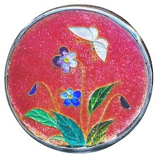 Button--Fine Large Japanese Cloisonne Enamel Flowers and Butterfly