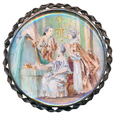 Button--Early 19th C. Painting Under Glass in Silver--The New Heir