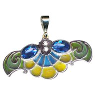 Pendant--Early 20th C. Art Nouveau Plique-a-jour Enamel Pendant with Blue Stones