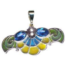 Pendant--Early 20th C. Art Nouveau Plique-a-jour Enamel Pendant with Blue Stones