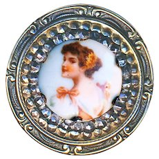Button--Large Early 20th C. Cut Steel Brass and Porcelain Transfer Lady
