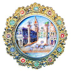 Button--Incredible 19th C. Micromosaic Venice with Pigeons Under Glass