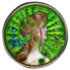 Brooch--Early 20th C. Art Nouveau Limoges Enamel Strawberry Nymph