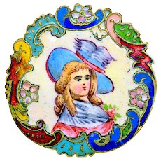 Button--Large Late 19th C. Rococo Champleve and Emaux Peints Enamel Lady in Hat