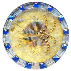 Button--Large Late 19th C. Blue and Yellow Lacy Glass