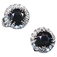 Earrings--Black And White Diamonds in White 14 Karat Gold