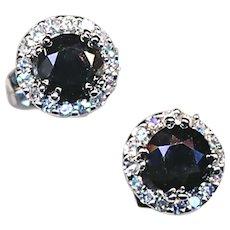 Earrings--Black And White Diamonds in White 14 Karat Gold