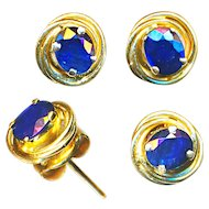 Earrings--Oval Blue Sapphires in Round 14 Karat Gold