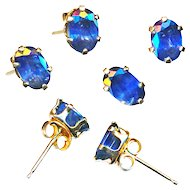 Earrings--Vintage Oval Natural Sapphire Ovals in 14 Karat Gold