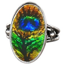 Ring--Modern Artisan Hand Painted Peacock Eye Enamel on Sterling Silver--Size 8