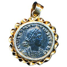 Pendant--Ancient Coin of Constantine -- So-called Widow's Mite -- in 14 Karat Gold