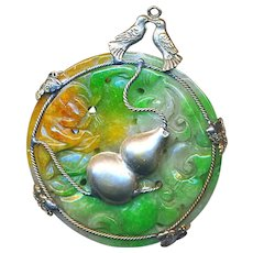 Pendant--Large Antique Double Sided 3-color Jade with Silver Gourd Overlay