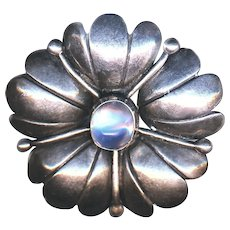 Brooch--Arts & Crafts Sterling Silver Flower and Moonstone