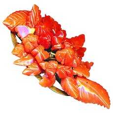 Brooch--Mid-19th C. Carved Coral Fruits & Leaves on Brass