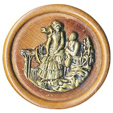 Button--Large Late 19th C. Antebellum Lady & Gent by Fence on Wood