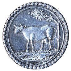 Button--Early Stamped Continental Silver Milk Cow