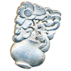 Button--Large 19th C. Chinese Silver Figural Vase of Flowers
