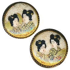 Buttons--Two Very Fine Small Late 19th C. Satsuma Geisha--Earring Size