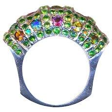 Ring--Tsavorite Garnets and Multicolor Tourmalines in Sterling Silver Barrel
