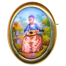 Brooch--Early 19th C. Hand Painted  Porcelain Lady and Mandolin in 12 Karat Gold
