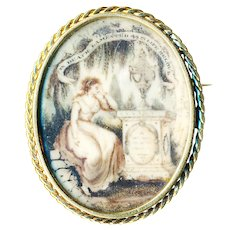 Brooch--Large Georgian Mourning Scene of Hair Under Glass in 14 Karat Gold