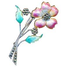 Brooch--Large Vintage Enamel Wild Rose & Marcasites on Sterling Silver
