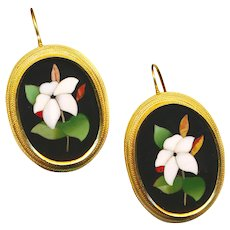 Earrings--Large Mid-19th C. Pietra Dura Flowers in 18 Karat Gold
