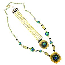 Necklace & Bracelet--Early 20th C. Brass and Peacock Eye Glass
