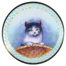 Brooch--Late 19th C. Large Guilloche Enamel Kitten in Basket on Sterling Silver