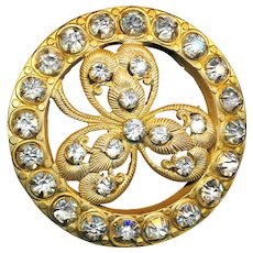 Button--Large Late 19th C. Rhinestone Jeweled Clover in Openwork Brass