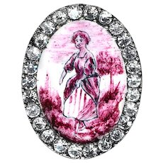 Button--Late 19th C. Oval Emaux Peints Lady in Magenta with Rhinestones