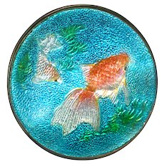 Button--Very Fine Japanese Ginbari Foil Enamel Koi Pond in Silver