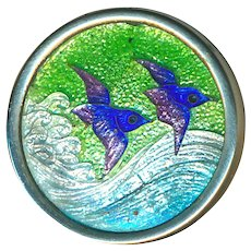 Button--Japanese Cloisonne Enamel on Foil Birds Flying Over Waves
