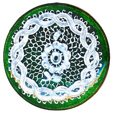 Button--Rare Early 19th C. Lace  en Ronde Bosse on Green Foil Enamel