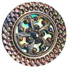 Button--Large Late 19th C. Paris Back Iridescent Pearl Foliate Escutcheon and Bright Cut Steels