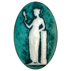 Button--Studio Glass Cameo in Brass Classical Lady--Phil Linley
