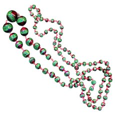 Necklace--Late 19th C. Coralene Christmas Glass Beads--36 Inches