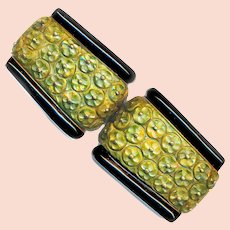 Buckle--Finely Carved Art Deco Bakelite with Brass Studs