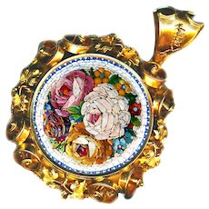 Brooch/Pendant--Mid-19th C. Micromosaic Floral & Glazed Compartment 18 Karat