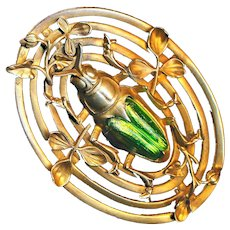 Brooch--Large Antique Brass Sash Pin with Art Glass Beetle